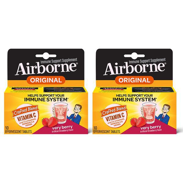 Airborne Very Berry Effervescent Tablets 1000mg of Vitamin C - 2 Pack