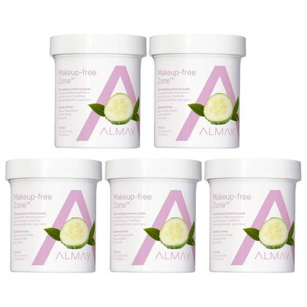 Almay Oil Free Gentle Eye Makeup Remover Pads with Aloe 80 count - 5 Pack