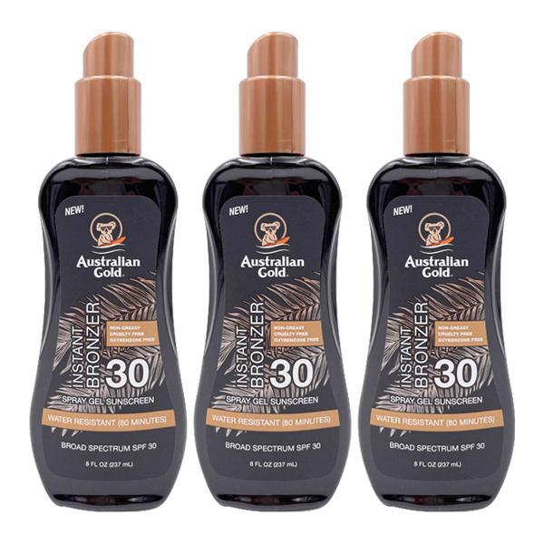 Australian Gold Instant Bronzer Spray Gel Sunscreen SPF 30 8 Fl Oz - 3 Pack