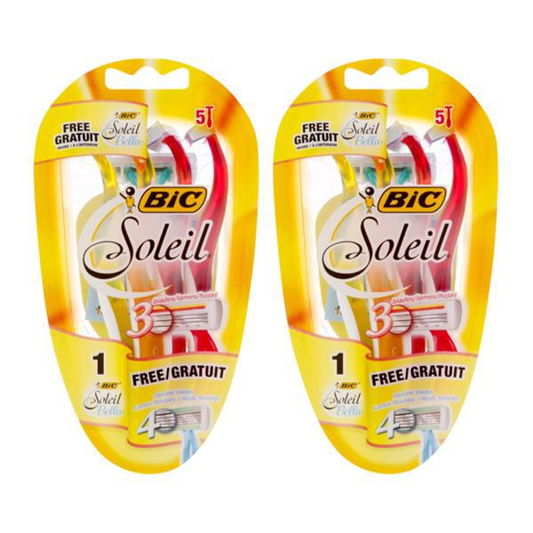 BIC Soleil Color Collection 3 Blade Women's Disposable Razor 5 Pack - Lot of 2 (10 Razors Total)