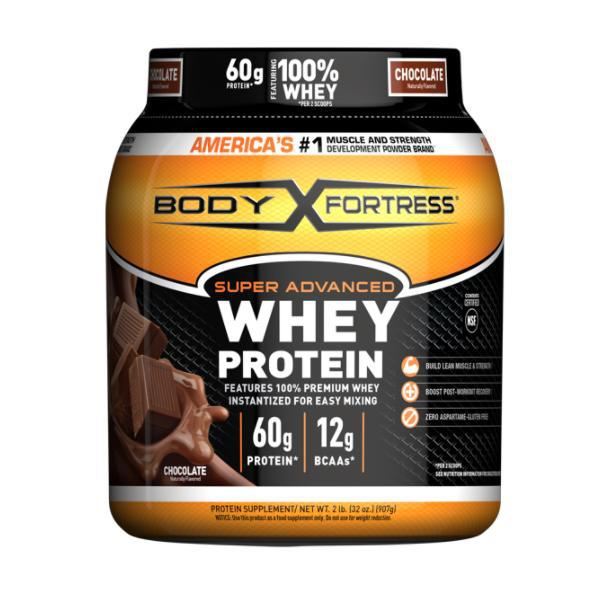 Body Fortress Super Advanced Whey Protein Powder 60g Protein Chocolate Flavor - 2LB
