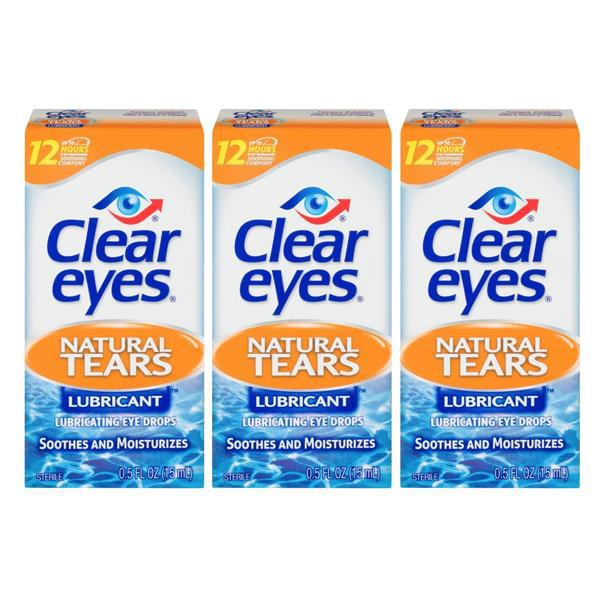 Clear Eyes Natural Tears Lubricant Eye Drops 0.5 FL OZ - 3 Pack