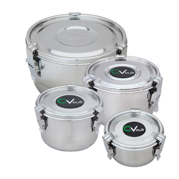 CVault Humidity Control Airtight Metal Smell Proof Container - Choose Your Size