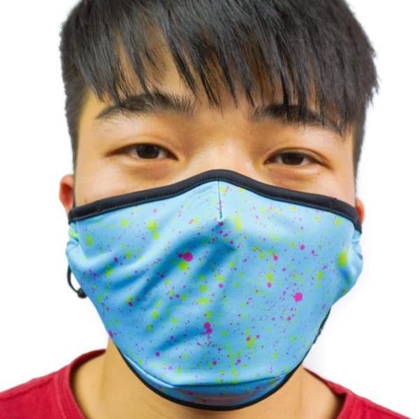 Fydelity Breathable Comfortable Fabric Cover Face Mask - Blue Paint Splatter