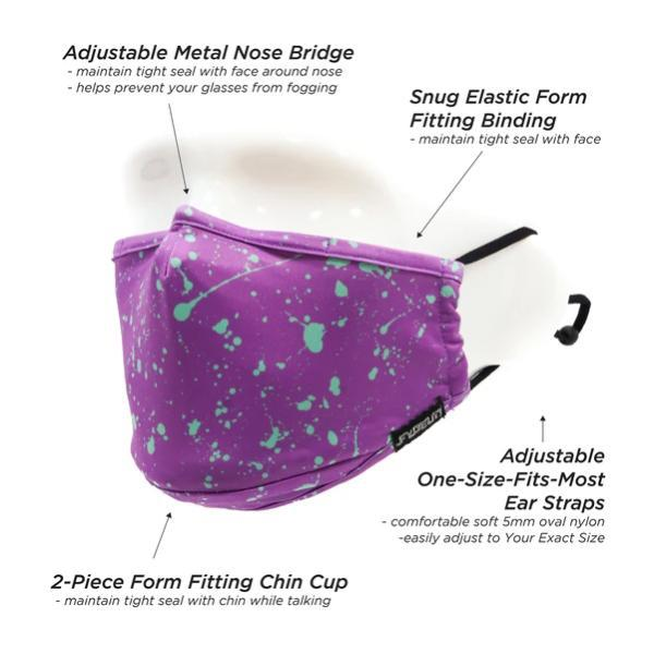 Fydelity Breathable Comfortable Fabric Cover Face Mask - Purple Splatter