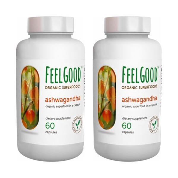 Feel Good Organic Superfoods Ashwagandha Organic Capsules 1000mg - 120 Capsules