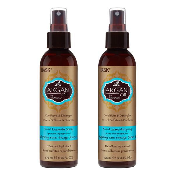 Hask Pure Organic Argan Oil from Morocco 5-in-1 Leave-In Spray 6 fl oz - 2 Pack