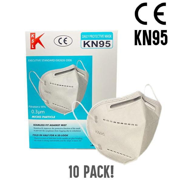 KSL KN95 Adult Disposable Protective Face Mask - 10 Pack