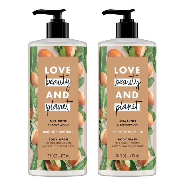 Love Beauty And Planet Shea Butter & Sandalwood Majestic Moisture Body Wash 16 oz - 2 Pack