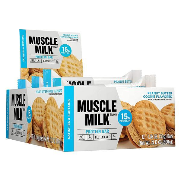 Muscle Milk Protein Bar Peanut Butter Cookie Flavor 15g Protein - 12 Count Box
