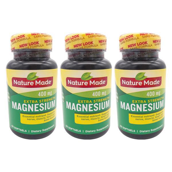 Nature Made Extra Strength Magnesium Oxide 400 mg Softgels 60 Count - 3 Pack