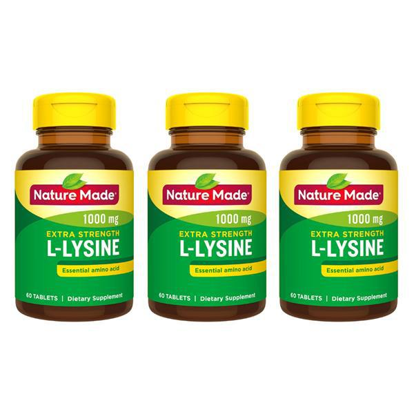Nature Made Extra Strength L-Lysine 1000 mg, 60 Count Tablets Each - 3 Pack