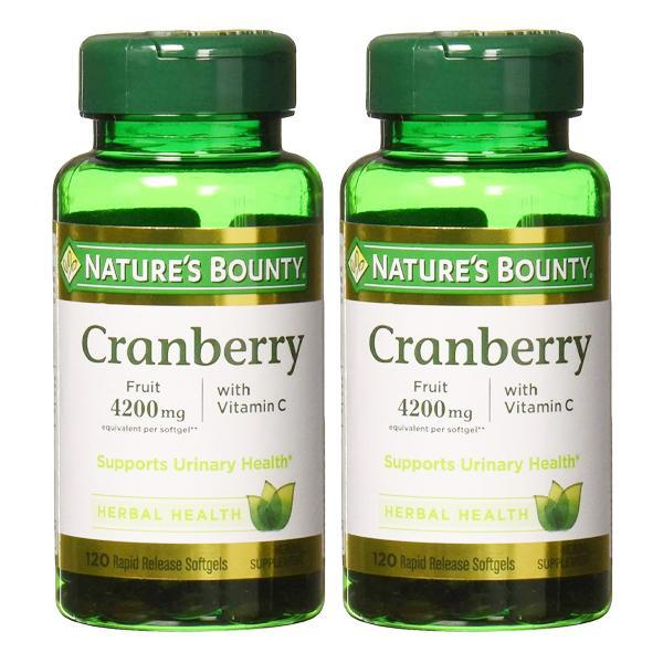 Nature's Bounty Cranberry Fruit 4200 mg, Plus Vitamin C, 120 Softgels - 2 Pack