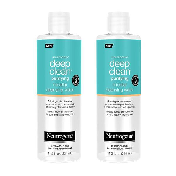 Neutrogena Deep Clean Gentle Purifying Micellar Water and Cleansing Water-Proof Makeup Remover 2 Pack