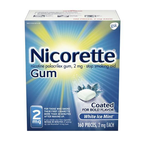 Nicorette 4mg Gum Stop Smoking Aid 160 Count - White Ice Mint