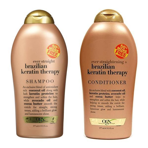OGX Organix Ever Straight Brazilian Keratin Therapy Shampoo & Conditioner Set 19.5 fl oz Each