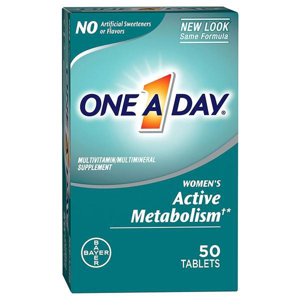 One A Day Women's Active Metabolism Supplement 50 Tablets - 2 Pack
