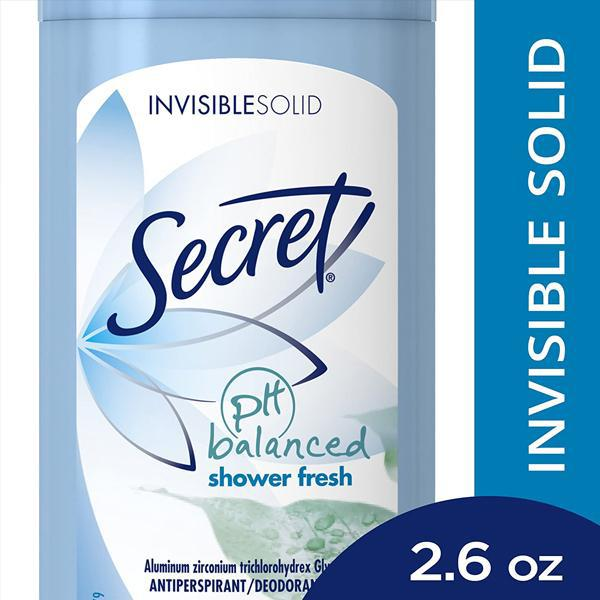 Secret Antiperspirant Deodorant Invisible Solid SHOWER FRESH Scent 2.6 oz - 3 Pack