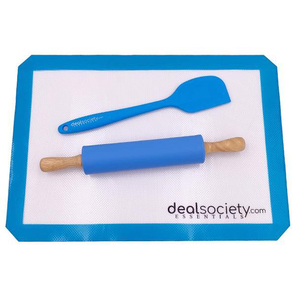 "Deal Society Essentials Non Stick Silicone Baking Mat Half-Sheet (16-1/2"" x 11-5/8"") 2 Pack"