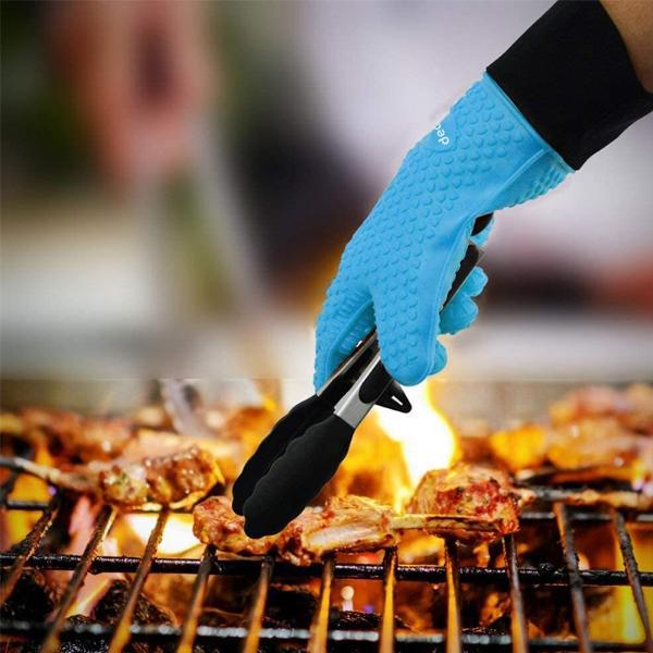 Deal Society Heat Resistant Non Slip Silicone Oven BBQ Glove 2 Pack