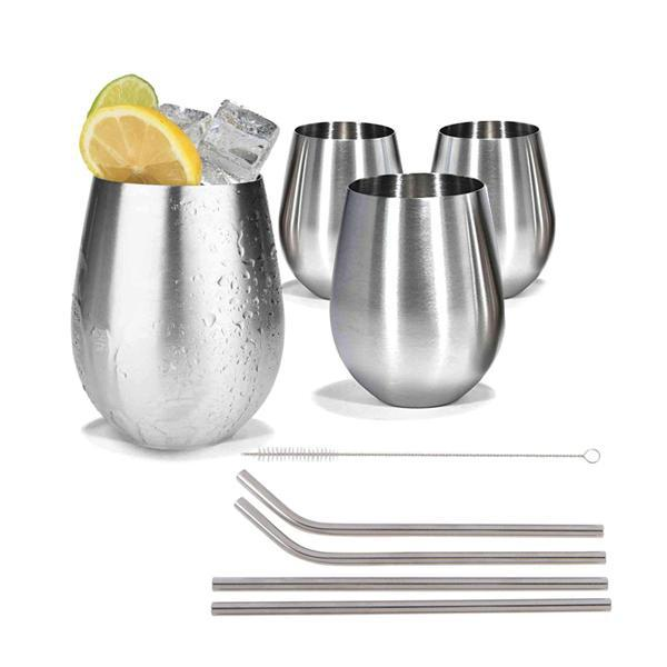Stainless Steel Cup Wine Tumbler 4 Pack w/Metal Straws