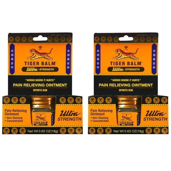 Tiger Balm Pain Relieving Concentrated Sports Rub, Ultra Strength, 0.63 oz - 2 Pack