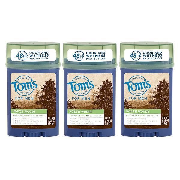 Tom's of Maine Men's Stick Antiperspirant, North Woods Scent 2.25oz - 3 Pack