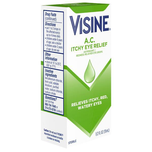 Visine A.C. Itchy Red Eye Relief Astringent Eye Drops 0.5 fl. oz - 2 Pack