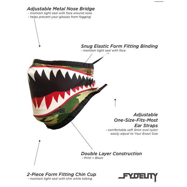 Fydelity Breathable Comfortable Fabric Cover Face Mask - Flying Tiger Camo