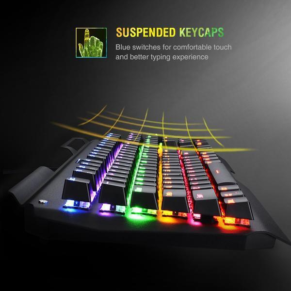 Turbot Mechanical Gaming Keyboard Ergonomic RGB 104 Key USB Wired + Mouse Combo-Turbot-Deal Society