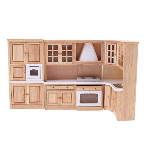 1/12 Luxury Wooden Kitchen Cabinet Cupboard for Dolls House Dining Room Accessory Decoration