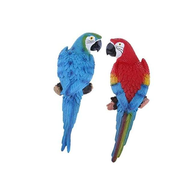 1 Pair Realistic Large Parrot Lifelike Bird Ornament Resin Animal Model Statues DIY Lawn Sculpture Tree Decor 31cm Blue Look Right & Red Parrots