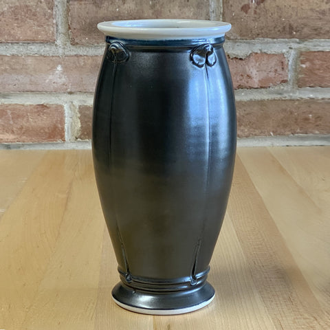 Large Vase in White | Black Glaze