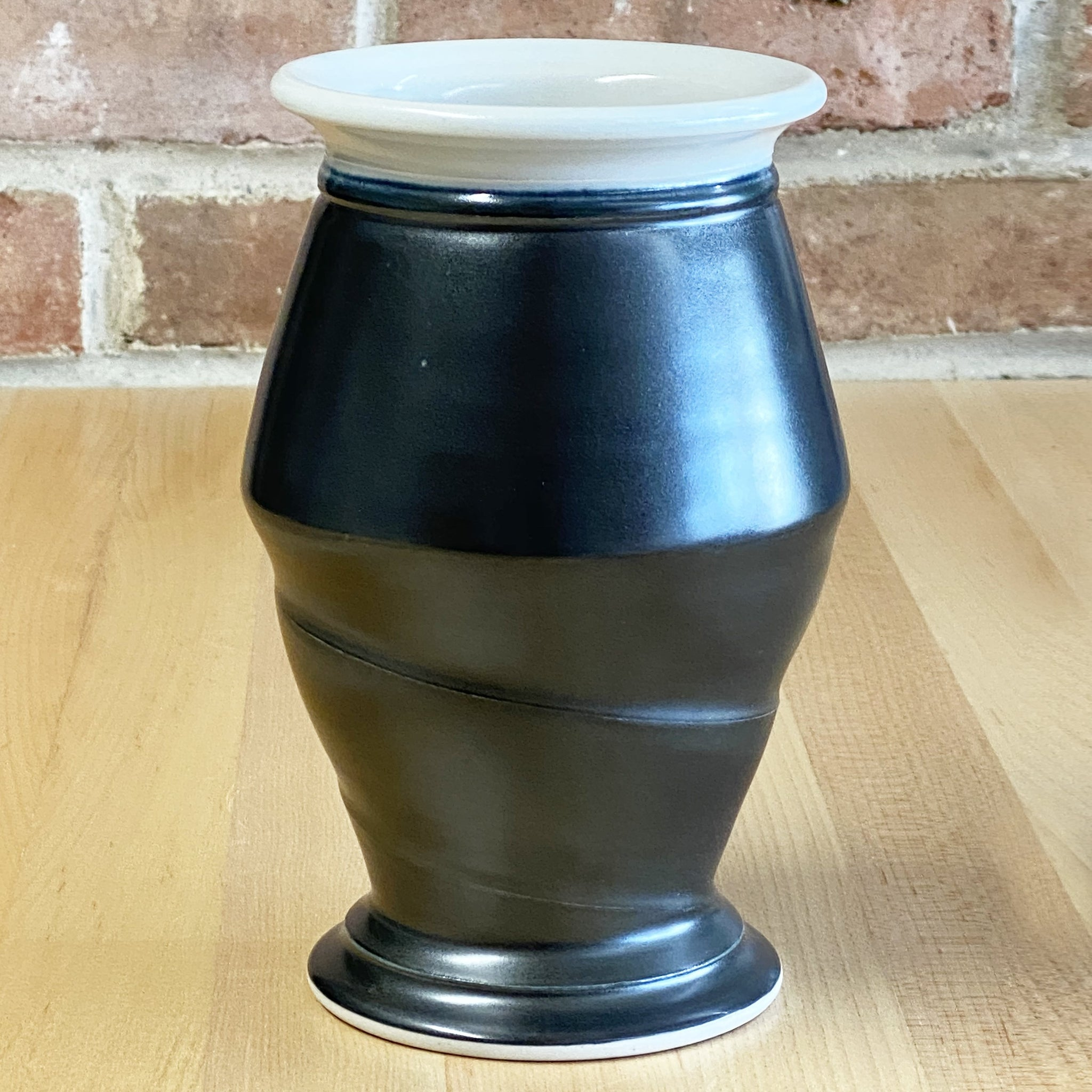 Small Vase in White | Black Glaze