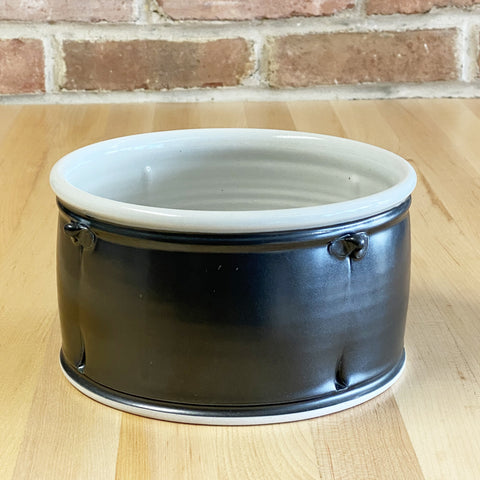 Straight-Sided Serving Bowl in White | Black Glaze