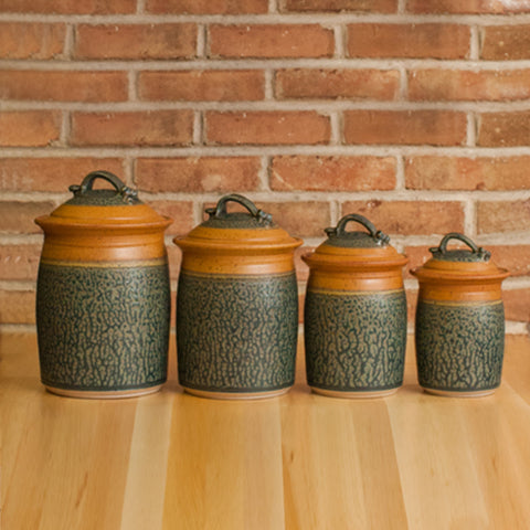 Four Piece Canister Set in Tan | Ash Glaze