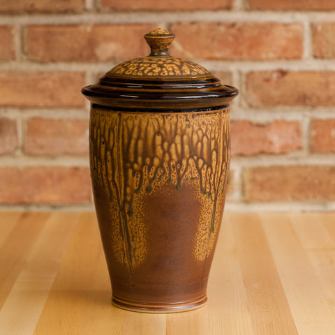 Cookie Jar in Brown Ash | Black Glaze