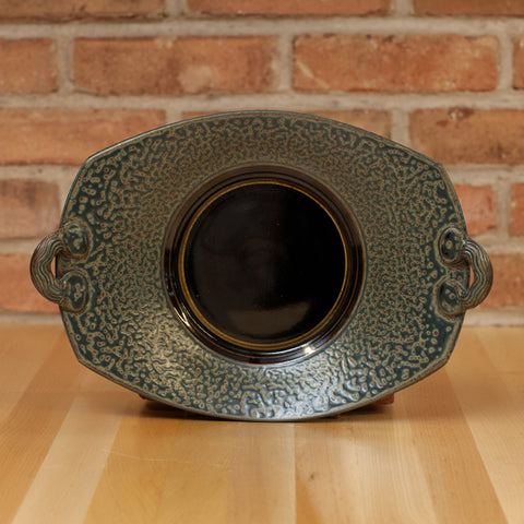 Royce Yoder - Rectangle Handled Plate in Black | Ash Glaze