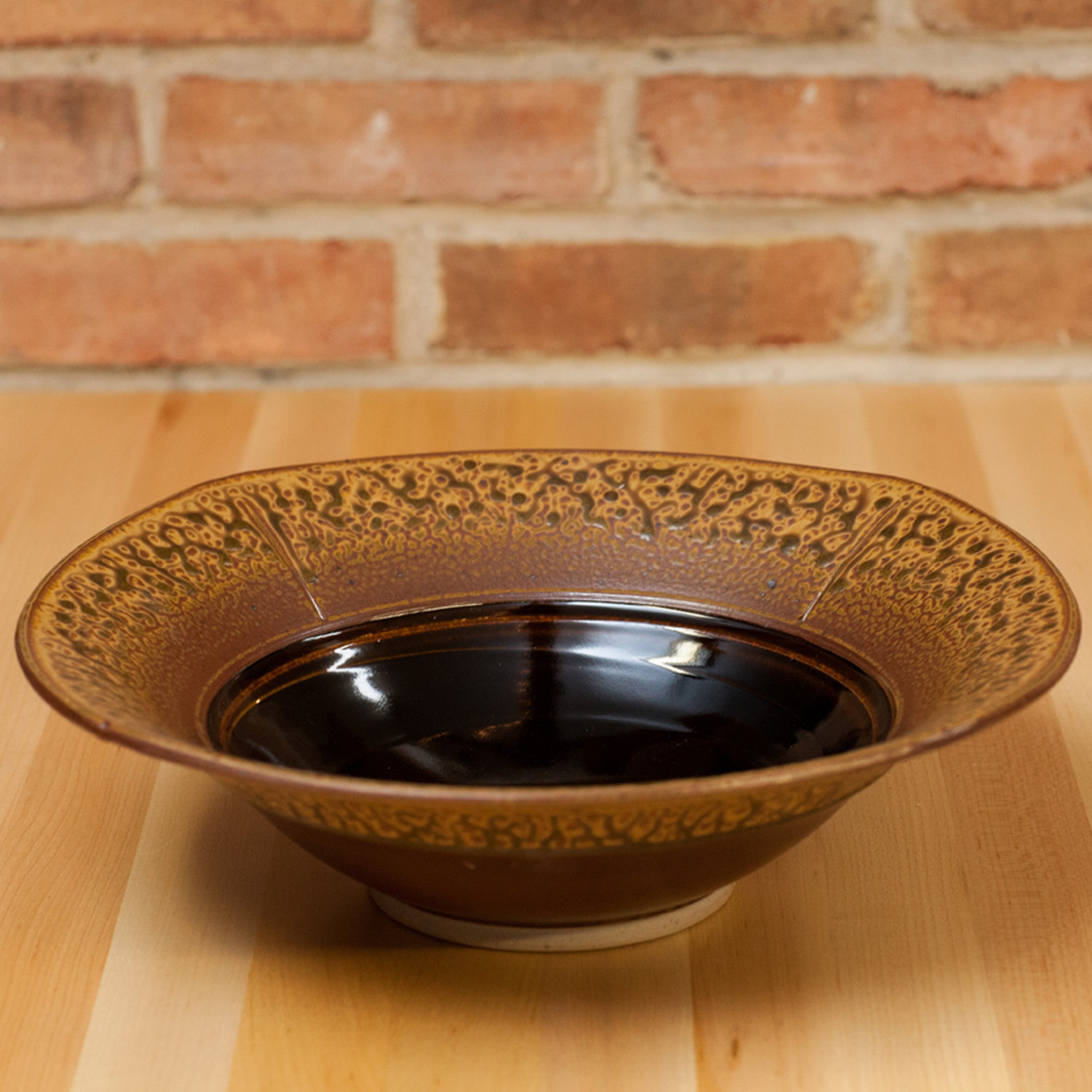 Royce Yoder - Serving Bowl in Brown Ash | Black Glaze