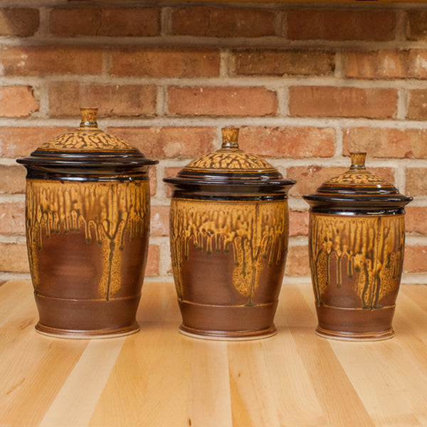 brown kitchen canister sets three canister set in brown ash black glaze 16503