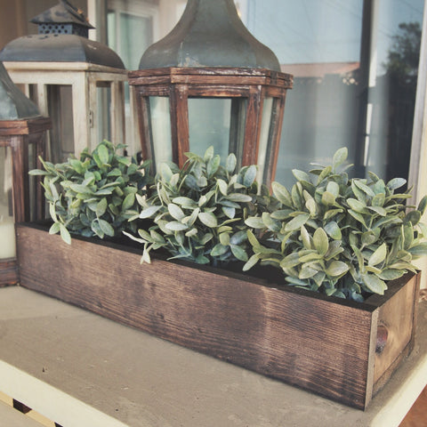 Rustic wooden flower planter box 24""