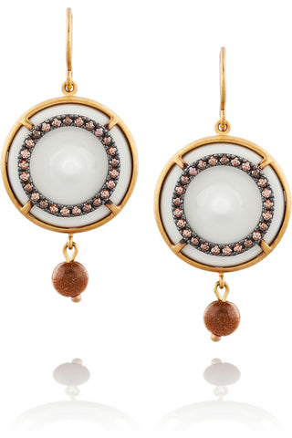 Gold-plated, cubic zirconia and porcelain drop earrings