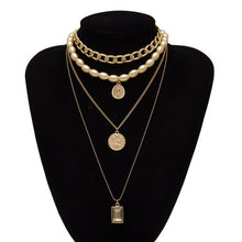 Charger l'image dans la galerie, IngeSight.Z Punk Multi Layered Pearl Choker Necklace Collar Statement Virgin Mary Coin Crystal Pendant Necklace Women Jewelry - Bijoux - HeyGirls!