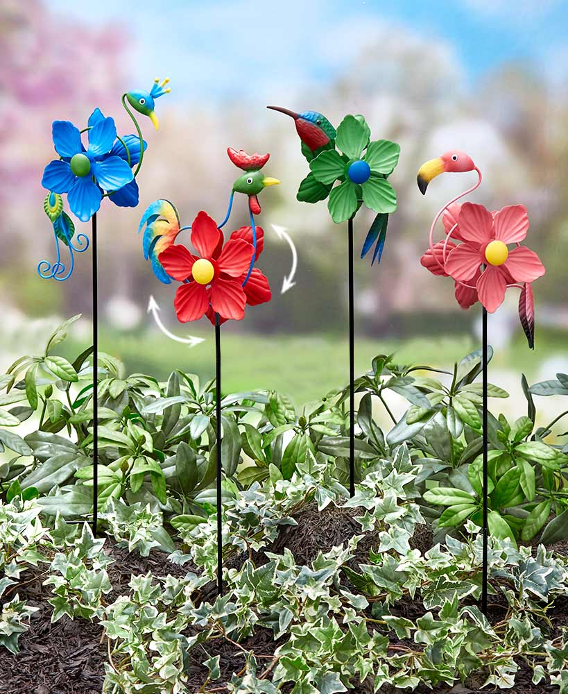 Colorful Bird Wind Spinner Stakes