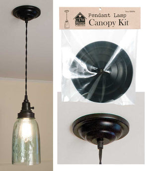 Pendant Lamp Canopy Kit 5 Inch Black Includes Hardwre and Strain Relief