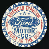 "Ford-Built in USA-Tin Sign -12"" Round"