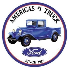 Ford Trucks Round Tin Sign 12 x 12in Vintage Style Made in USA