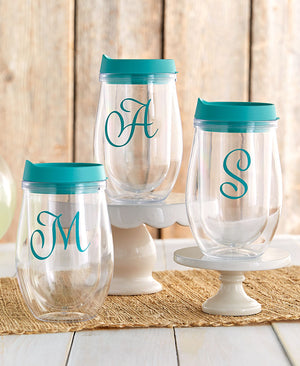 12-Oz. Double-Wall Monogram Wine Tumblers