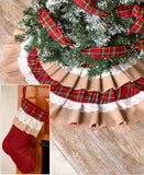 Ruffled Burlap Lace and Plaid Tree Skirt or Stocking