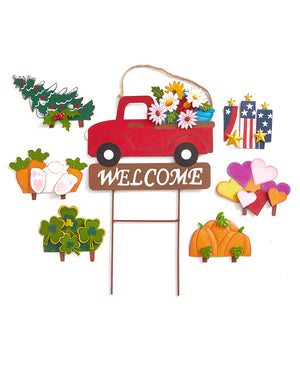 8-Pc. Interchangeable Metal Truck Stake Set Welcome Sign